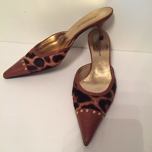 DOLCE & GABBANA HEELS MULES BROWN ANIMAL PRINT 7.5